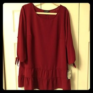Red top with tie sleeves NWT